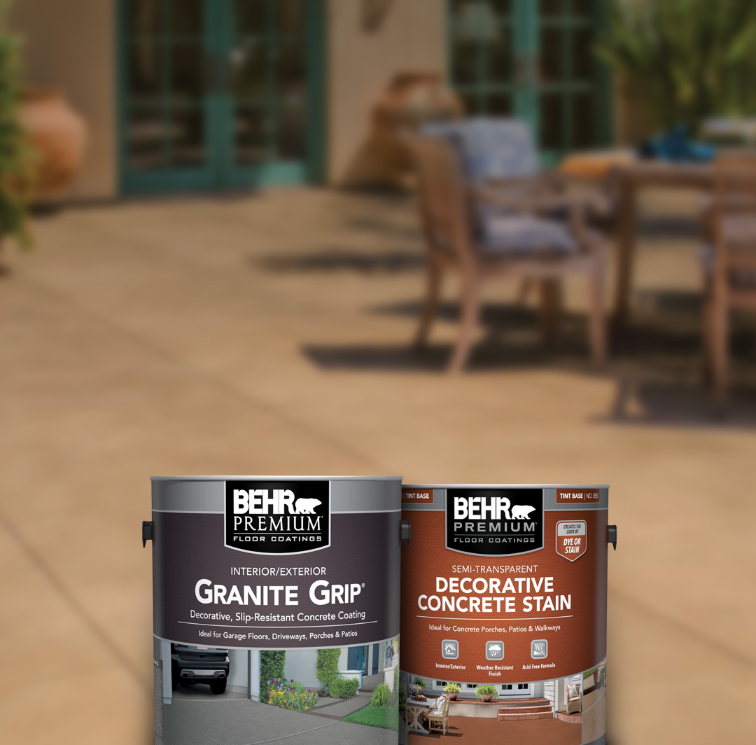 Smaller image of two cans of Behr concrete products with concrete flooring in the background.