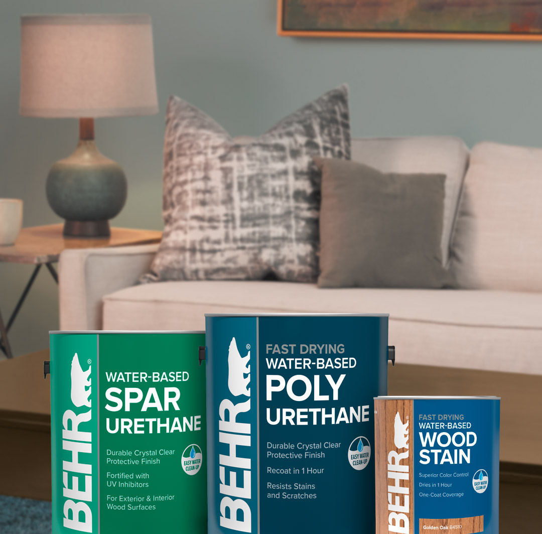 Mobile version of Behr water based stains with living room in background.