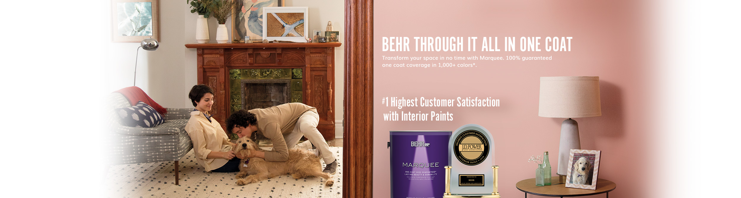 Can of Behr paint next to an award with a light pink wall and lamp in the background