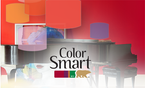 ColorSmart logo against background of color chips