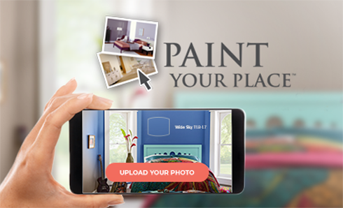 Paint Your Place logo above a shot of person taking a mobile phone photo