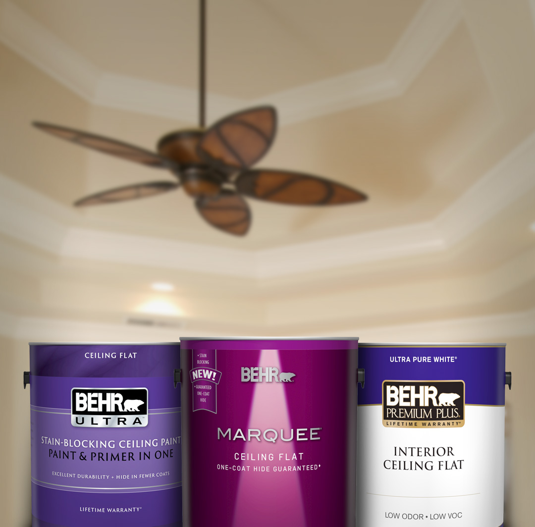 Mobile version of 3 can of Behr Ceiling Paint, with ceiling and ceiling fan in background.
