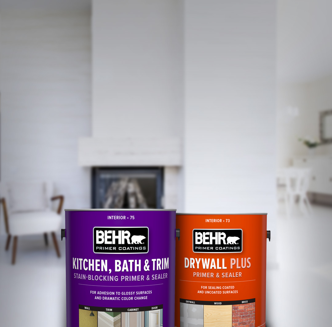 Two cans of Behr paint with white room in the background. For mobile.