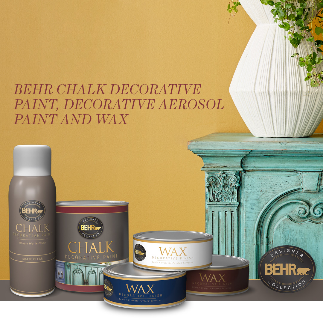 Behr Chalk Decorative Paint and Wax text with a vase sitting on a cabinet and a yellow wall, small image.