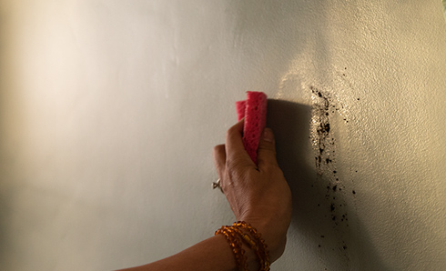 Person's hand wiping a stain off the wall with a sponge