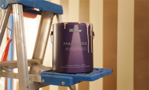 Can of Behr Marquee paint sitting on a ladder