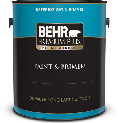 Behr Premium Plus Exterior Satin Enamel Paint and Primer can with a plastic lid