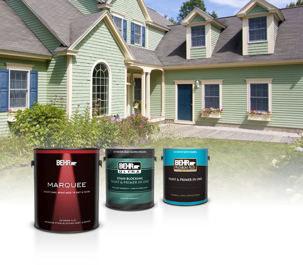 1 gallon cans of Marquee Exterior Flat, Ultra Exterior Semi-Gloss and Premium Plus Exterior Satin paints with a green house in the background