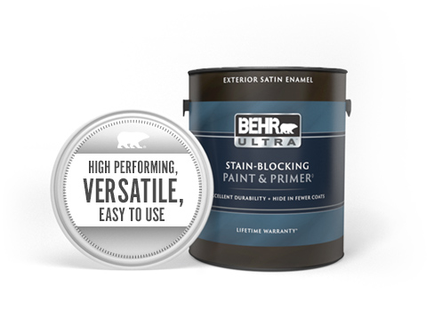 Can of Behr Ultra Exterior Satin Paint and Primer