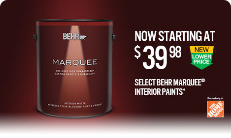 New Lower Price promo tile for select MARQUEE Interior paints.