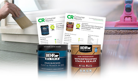 Image representing Consumer Reports ratings on Behr Stains and Exterior Paints, include 1 gallon can images of Behr Ultra Exterior Paint and Behr Semi Transparent Stain.