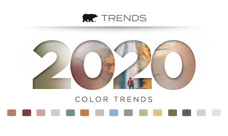 Promotional image with the 2020 Color Trends logo featured, and color chips representing each trend color set beneath the logo.