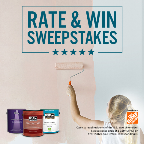 Behr Rate & Win Sweepstakes with paint cans and a woman painting with a paint roller in the background