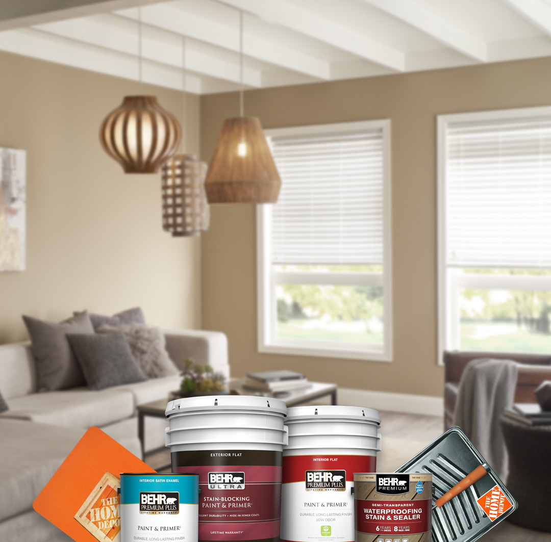 Mobile version of montage of Behr Paint and Stain cans with a living room in the background