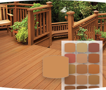Image of deck with stain color chips overlayed in foreground