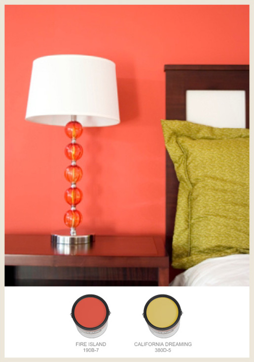 Colorfully, BEHR :: Fiery orange and green bedroom colors