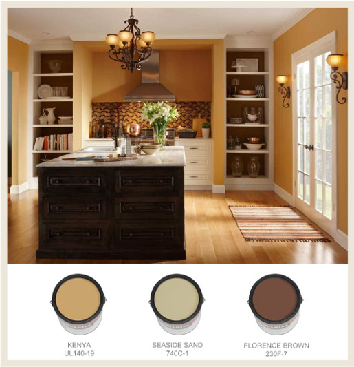 Golden Kitchen Walls Cans Border Colorfully Behr