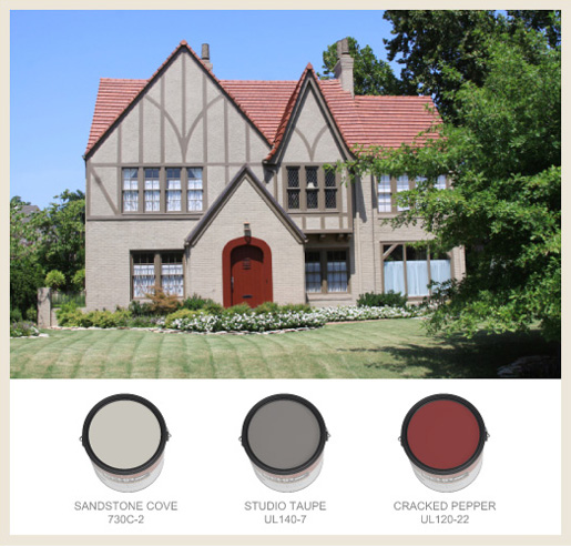 Tudor Style - Red Roof Exterior Wall Colour Combinations