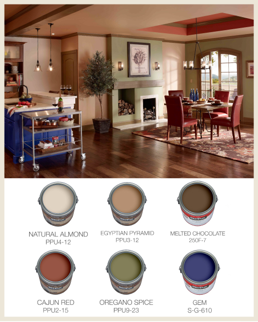 Tuscan Kitchen With Cans Colorfully Behr