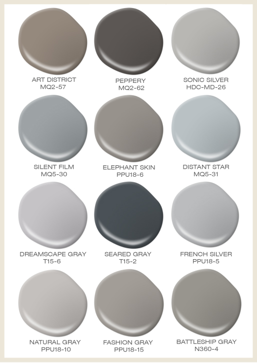 A collage of 12 paints spills featuring different shades of gray.
