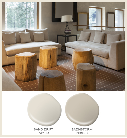 A cozy minimalist living room featuring tree log accent tables.