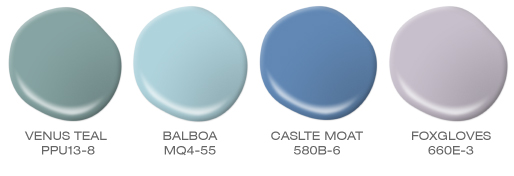 A group of paint spills featuring the following colors: Venus Teal, Balboa, Castle Moat and Floxgloves.
