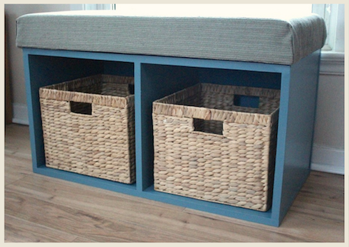 A DIY window seat storage bench painted with blue color by Small Home Big Start.