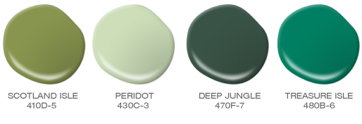 A group of green paint spills featuring an emerald green, a deep hunter green, a pistachio green and an avocado green. Featured colors include: Scotland Isle, Peridot, Deep Jungle and Treasure Isle.