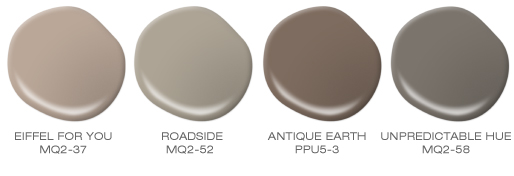 A group of five paint spills, colors featured include the following neutrals browns: Eiffel for You, Roadside, Antique Earth and Unpredictable Hue.