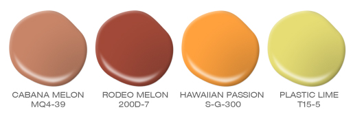 Four paint spills featuring and orange, a rusty red, a bright gold and yellow with a tinge of green. Colors include: Cabana Melon, Rodeo Red Melon, Hawaiian Passion and Plastic Lime.