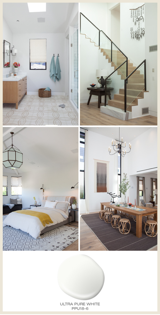 A collage of four modern rooms including a bathroom, staircase, bedroom and dining room. Open rooms feature all white paint on the walls and a lot of natural light.