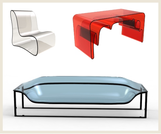 A collage of transparent home furniture: chair, desk and sofa.