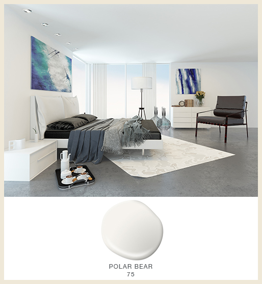 A white modern bedroom fearing dark gray and black furniture and bedding.