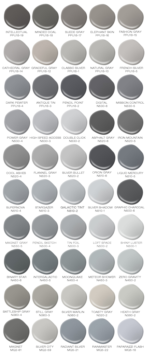 Fifty paint spills showcasing different tones of gray.