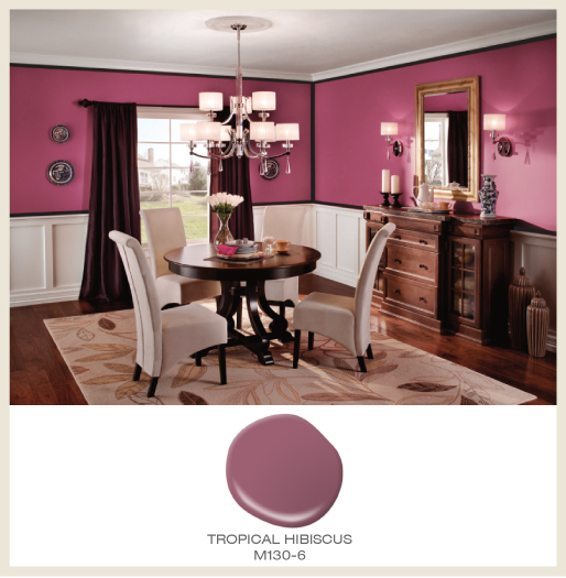 A classic three-tone dining room featuring pink, white and black paint colors.