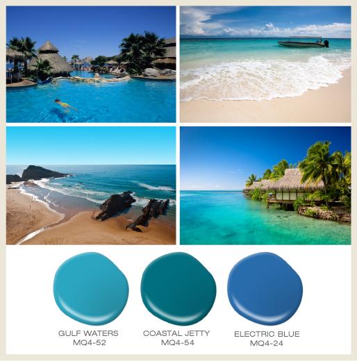 Beach vacation collage showing beach cabanas, beach sand, sky and ocean views.