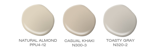 A group of three paint spill, colors incluse: Natural Almond, Casual Khaki and Toasty Gray.
