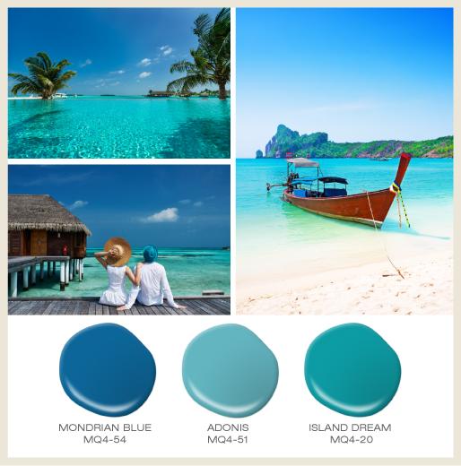 Beach vacation collage showcasing three different beautiful, clear aqua ocean views.