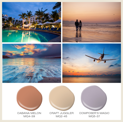 An island vacation collage showcasing four different beautiful sunset views.