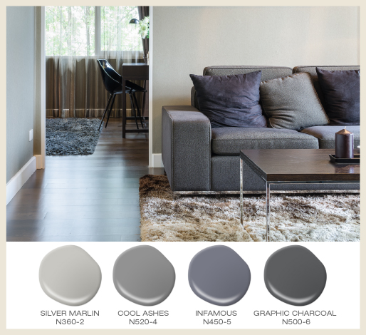 Mix and match textures when using tone on tone grays in a room.