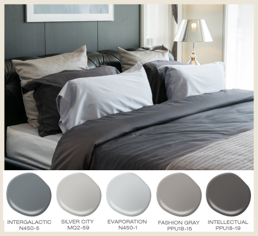Layered shades of gray in the bedroom for a comfortably masculine look.