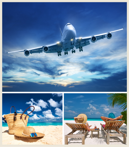 Summer escape collage including a airplane up in the air, a couple lounging at the beach, summer hat and tote.