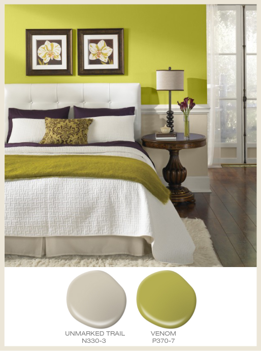 A two-tone bedroom wall, upper wall is bright green and lower wall is beige..