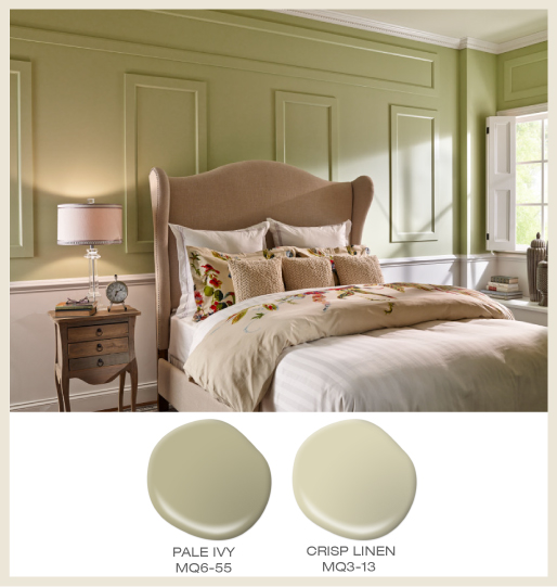 A two-tone country bedroom, upper wall is powdery green and lower wall is an off-white which create a relaxed mood in this room space.