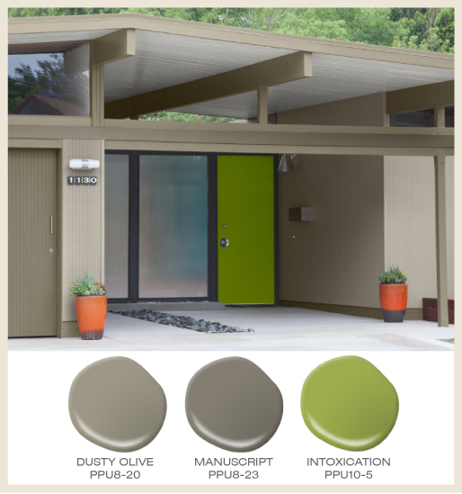 A mid-century modern home exterior with statement front door painted in punchy green color.