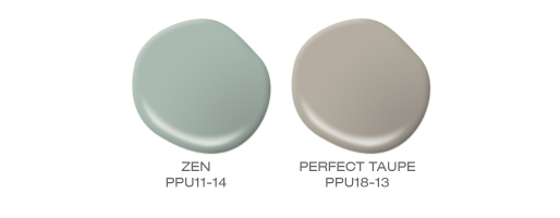 Two paint spills showing a dusty aqua and a taupe paint color.