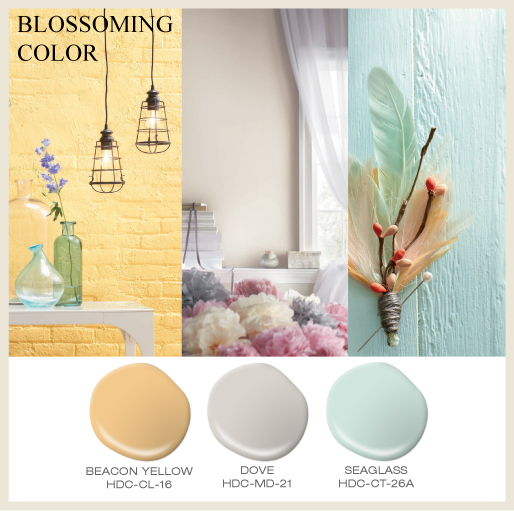 A collage featuring three images, a brick wall painted with a buttery yellow, a bedroom painted with an off white and a couple of wood beams painted in an aqua color.
