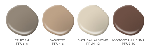Four paint spills with brown, tan, khaki beige and dark chocolate brown paint colors.  Featured BEHR colors include Ethiopia, Basketry, Natural Almond and Moroccan Henna.