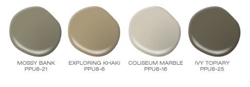 Four paint spills featuring the following green colors: Mossy Bank, Exploring Khaki, Coliseum Marble and Ivy Topiary.