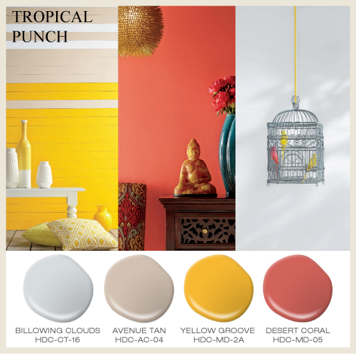 A collage featuring three images, a paneled vignette painted with a punchy yellow, an asian inspired room vignette painted with tropical color color and a simple vignette with birdcage and colorful fake birds.